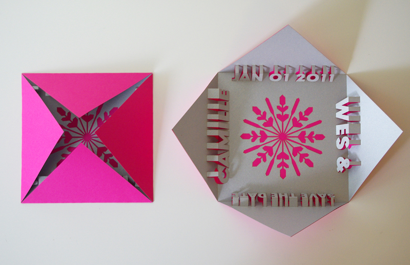 ... snowflake is lasercut in the center of a square pop-up card